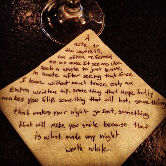 A note to the waitress