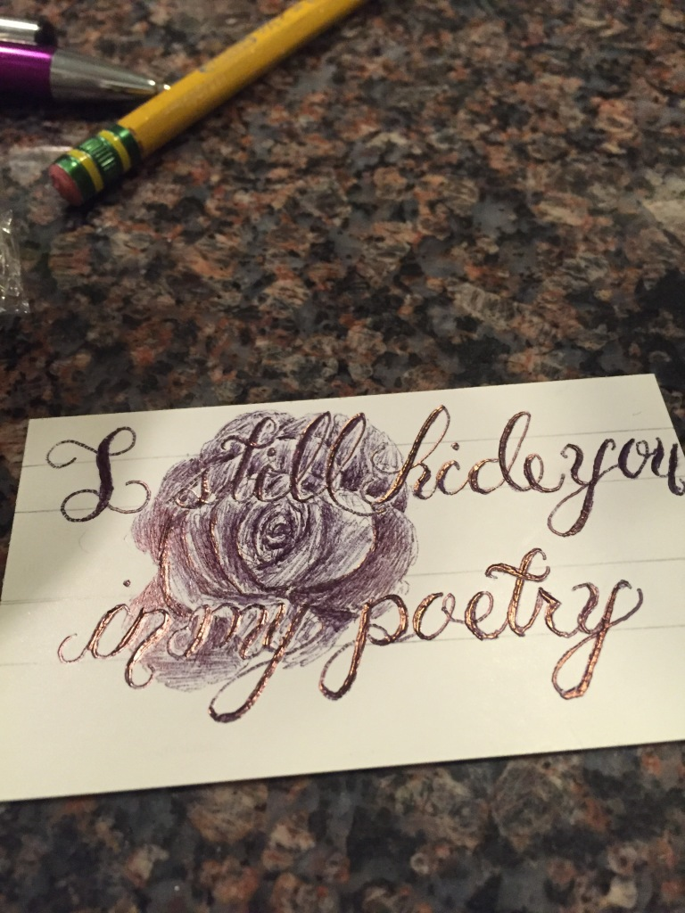 I still hide you in my poetry distracted by love sketch on the back of a business card magicingreecefo Images